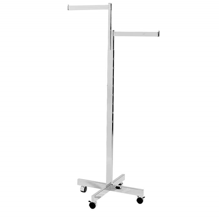 2 way rectangular arm and body clothing rack with casters